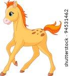 Illustration Of Cute Horse Foa...