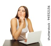 the young woman thinks with the ...   Shutterstock . vector #94552156