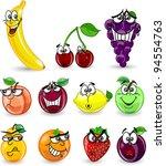 cartoon orange  banana  apples  ... | Shutterstock .eps vector #94554763
