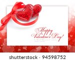 two decorative hearts are on a... | Shutterstock . vector #94598752