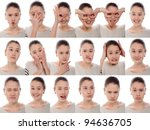 one kid   many faces. young... | Shutterstock . vector #94636705