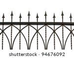 Photos wrought iron fence. isolated - stock photo
