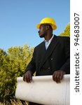 architect in hard hat with... | Shutterstock . vector #94683007