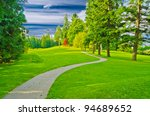beautiful golf course with... | Shutterstock . vector #94689652