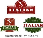 Vintage Style Italian Food Graphics - stock vector