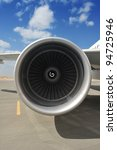 Closeup of Airplane Engine - stock photo