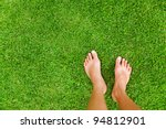 foot over green grass | Shutterstock . vector #94812901