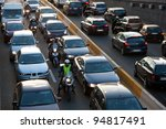 cars and motorcycles going... | Shutterstock . vector #94817491