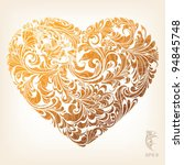 gold stylish heart with floral...   Shutterstock .eps vector #94845748