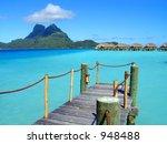 wooden dock extending over the...   Shutterstock . vector #948488