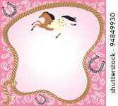 appaloosa,bandanna,birthday,birthday party,card,celebration,corral,cowgirl,gallop,galloping,horse,horseback riding,horseshoe,invitation,kid