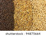 Pale malt, crystal malt, chocolate malt - stock photo