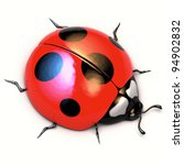A 3d illustration of ladybird isolated on white background. Symbol of the summer. - stock photo