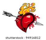 red heart with arrow for tattoo ...