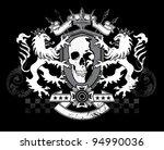 lion skull shield crest | Shutterstock .eps vector #94990036
