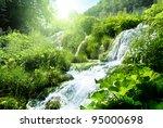 waterfall in deep forest | Shutterstock . vector #95000698