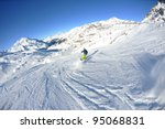 skier skiing downhill on fresh...   Shutterstock . vector #95068831