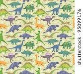seamless dinosaur pattern | Shutterstock .eps vector #95099176