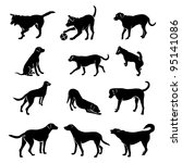 dog silhouettes | Shutterstock . vector #95141086