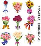 flower bouquet icons | Shutterstock .eps vector #95189218