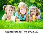 group of happy smiling children ... | Shutterstock . vector #95192566