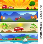 camping and caravaning banner...   Shutterstock . vector #95231770