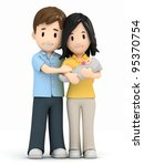 3d render of a happy family | Shutterstock . vector #95370754