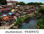 City landscape. Yogyakarta. Java island. Indonesia - stock photo