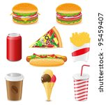 set icons of fast food vector... | Shutterstock .eps vector #95459407