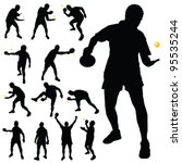 Table Tennis Player Silhouette...
