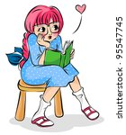 cute girl reading a book ... | Shutterstock .eps vector #95547745