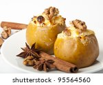 Appetizing baked apples with cottage cheese - stock photo