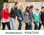 multicultural group of people... | Shutterstock . vector #95567293