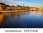 ponte vecchio over arno river...   Shutterstock . vector #95572438