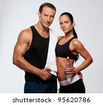 athletic man and woman after... | Shutterstock . vector #95620786