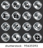 medical icons on metallic... | Shutterstock .eps vector #95635393