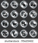 technology icons on metallic... | Shutterstock .eps vector #95635402