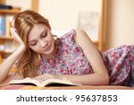 pretty woman with book | Shutterstock . vector #95637853