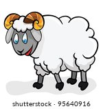 Cute sheep on a white background. Illustration. Cartoon.  Lamb - stock vector