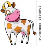 Cow on a white background. Farm animal. - stock vector