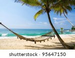 romantic cozy hammock in the... | Shutterstock . vector #95647150
