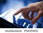 man hand touching screen on... | Shutterstock . vector #95655403