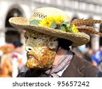 van Gogh mask on the carnivale in Venice - stock photo