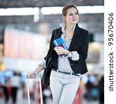 pretty young female passenger... | Shutterstock . vector #95670406