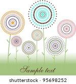 card   flowers of dot   circles   Shutterstock .eps vector #95698252