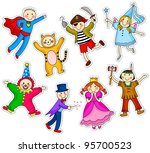 kids with different costumes | Shutterstock .eps vector #95700523