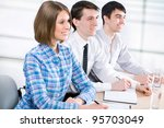 young business people working... | Shutterstock . vector #95703049