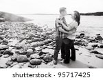 black and white photo of young... | Shutterstock . vector #95717425