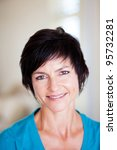 elegant middle aged woman closeup portrait - stock photo