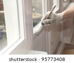hand with paintbrush painting a ... | Shutterstock . vector #95773408